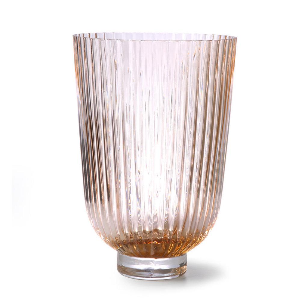 HKliving glass vase ribbed peach