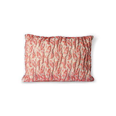 HKliving floral jacquard weave cushion red/pink (40x30)