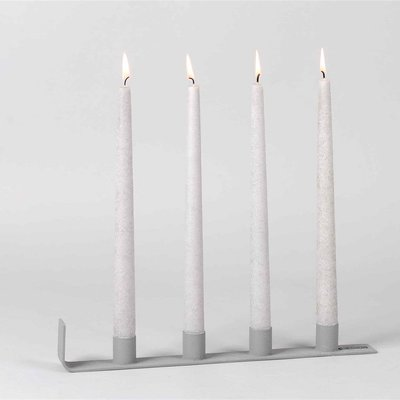 Luz Your Senses Metalen kaarsenhouder L36 X 3,5xH5,5  Grey Tone & Texture