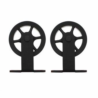 Intersteel 2 Hängewalzen Speichenrad für Schiebetürsystem Radoberteil matt schwarz