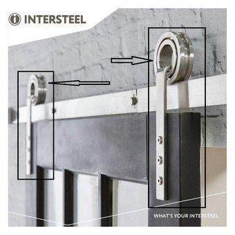 Intersteel 2 suspension rolls open wheel for sliding door system Modern stainless steel