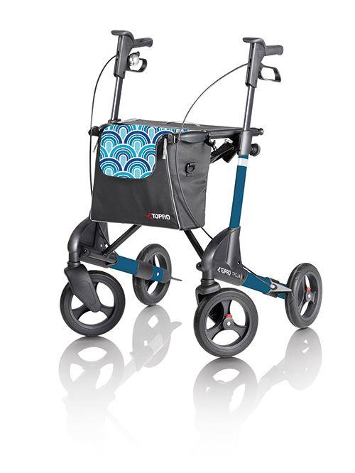Topro Troja 2G rollator Bleu waves.  Nu in prijs verlaagd van € 387,96 voor € 280,00 met gratis rugsteun (oude versie). Zolang nog voorradig bij Vitasel-Shop.
