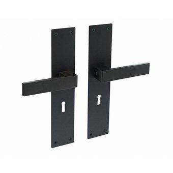 Intersteel Door handle Amsterdam keyhole 56mm on shield in matt black by Intersteel