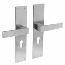 Intersteel Door handle Amsterdam keyhole PC55mm on stainless steel shield by Intersteel