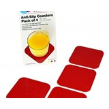 Able2 Non-slip coasters 9x9cm - 1 set of 4 pieces - Red - Tenura