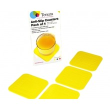 Tenura Non-slip coasters 9x9cm - 1 set of 4 pieces - Yellow - Tenura
