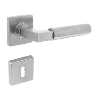 Intersteel Bau-Stil Griff auf Rosette + Schlüsselplatte aus gebürstetem Edelstahl - Intersteel