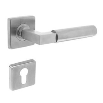 Intersteel Door handle Bau-Stil on rosette + profile cylinder plate brushed stainless steel - Intersteel