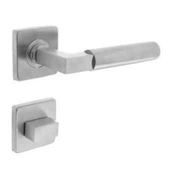 Intersteel Türgriff Bau-Stil auf Rosette + WC-Verschluss 8mm Edelstahl gebürstet - Intersteel