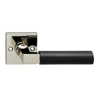 Intersteel Door handle Bau-Stil on square rosette nickel / ebony matt black - Intersteel