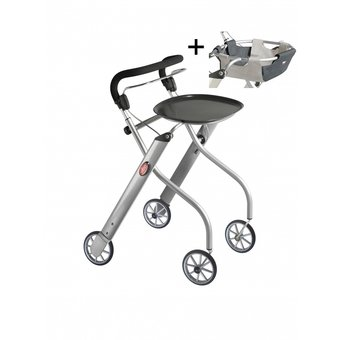 Trustcare Let's Go Indoor walker - silver + tray and basket - TrustCare