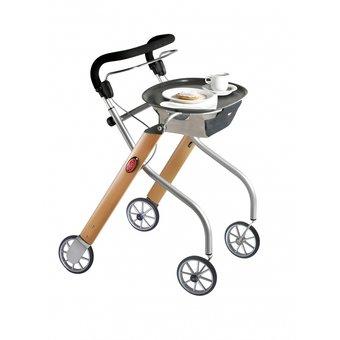 Trustcare Let's Go Indoor rollator - beuken/zilver + dienblad en mandje - TrustCare