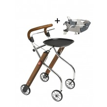 Trustcare Let's Go Indoor rollator - walnoot/chroom  + dienblad en mandje - TrustCare