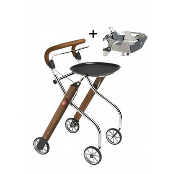 Trustcare Let's Go Indoor rollator - walnoot/chroom + dienblad en mandje - TrustCare
