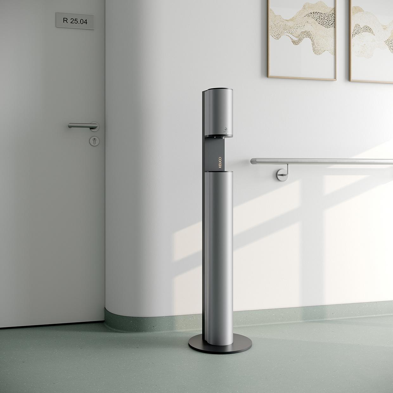 Nieuw Keuco desinfectie-dispenser - desinfectiezuil - contactloze hygiëne dankzij de infraroodsensor.