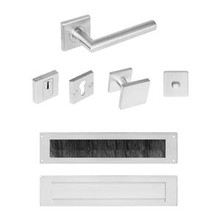 Intersteel Front door set security fittings SKG *** square rosette with core pull protection from Intersteel