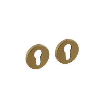 Intersteel Rosette with profile cylinder hole round brass matt titanium PVD Intersteel