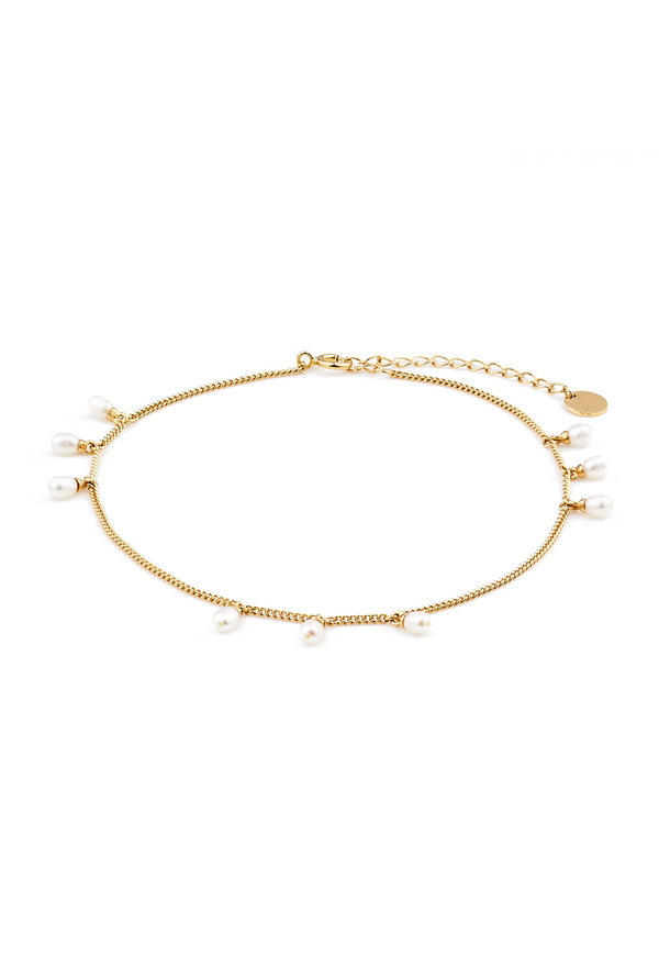 Violet Hamden Luminous Lake 925 sterling silver gold colored anklet with freshwater pearls