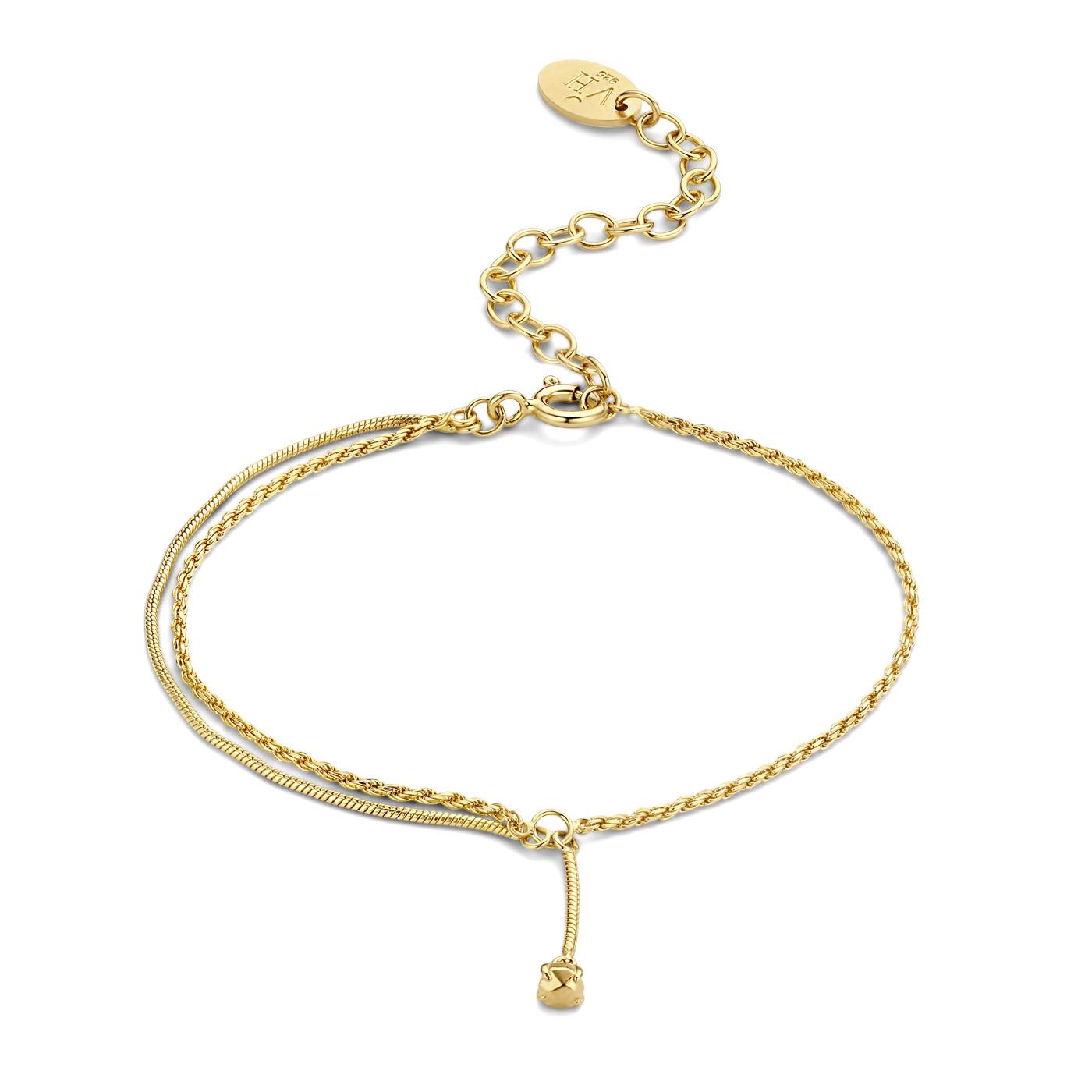 Violet Hamden Sisterhood Lunisolar 925 sterling zilver goudkleurige armband gedraaid met steentje