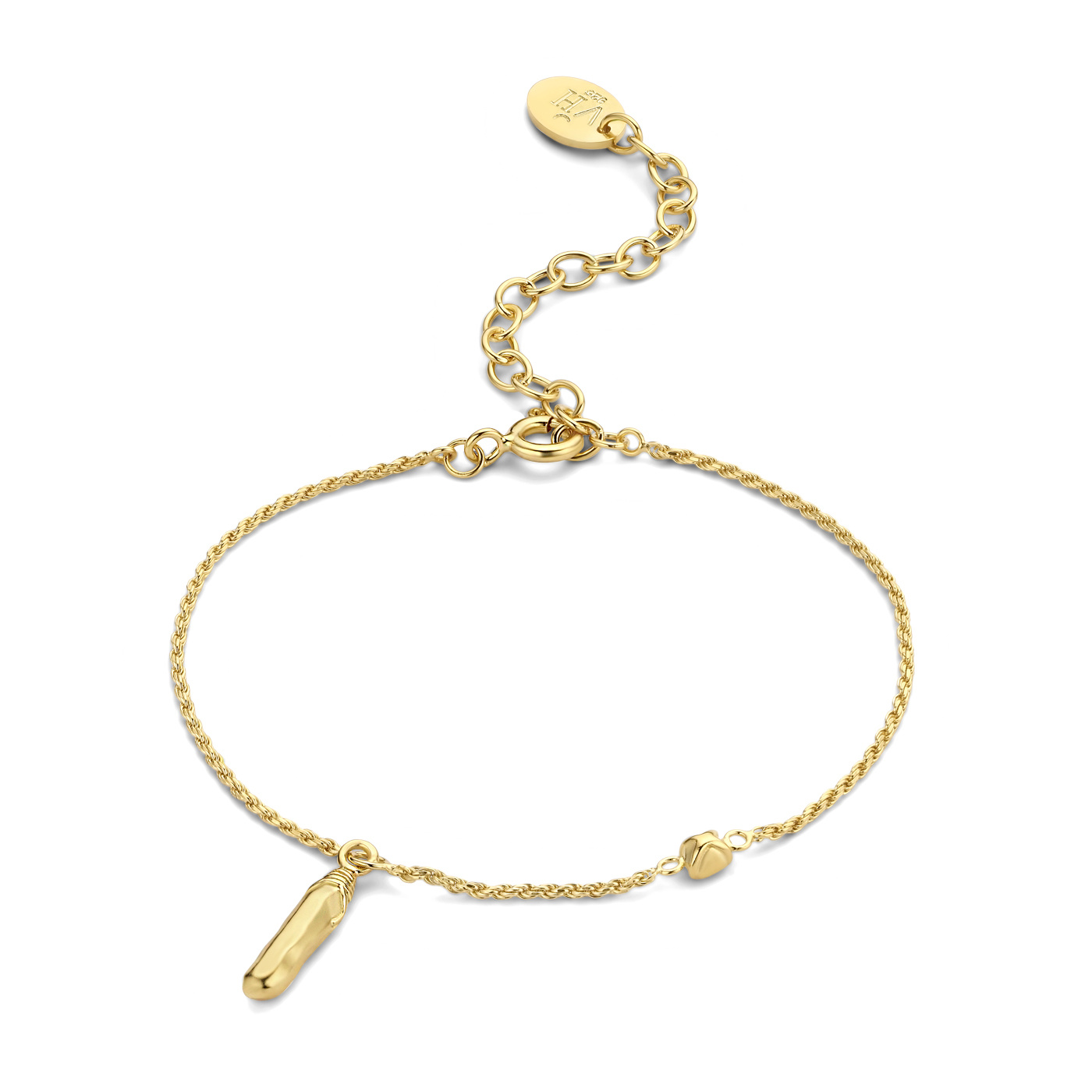Violet Hamden Sisterhood Mona 925 sterling zilver goudkleurige armband met staafje en steentje