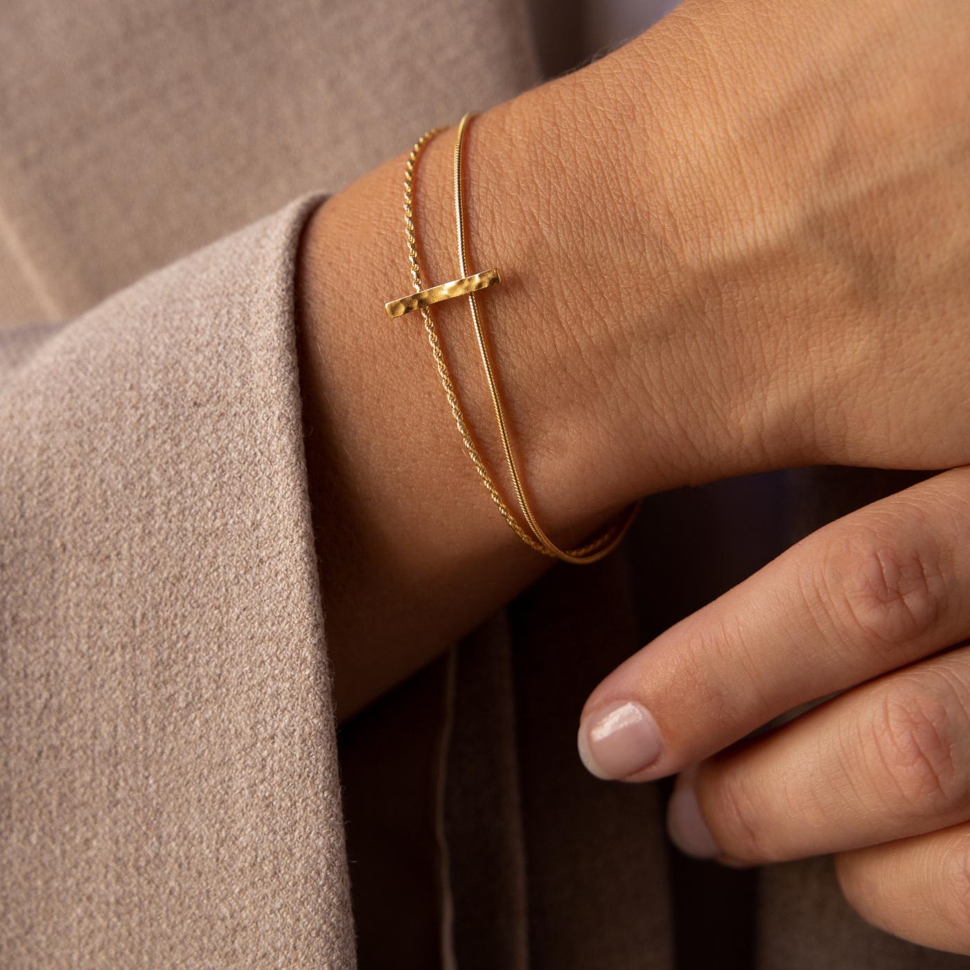 Violet Hamden Sisterhood Moonscape 925 sterling zilver goudkleurige dubbele armband met balkje