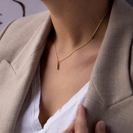 Violet Hamden Sisterhood Mona 925 sterling zilver goudkleurige ketting met staafje en steentje