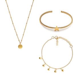 Violet Hamden Luna 925 sterling zilveren goudkleurige sieraden giftset
