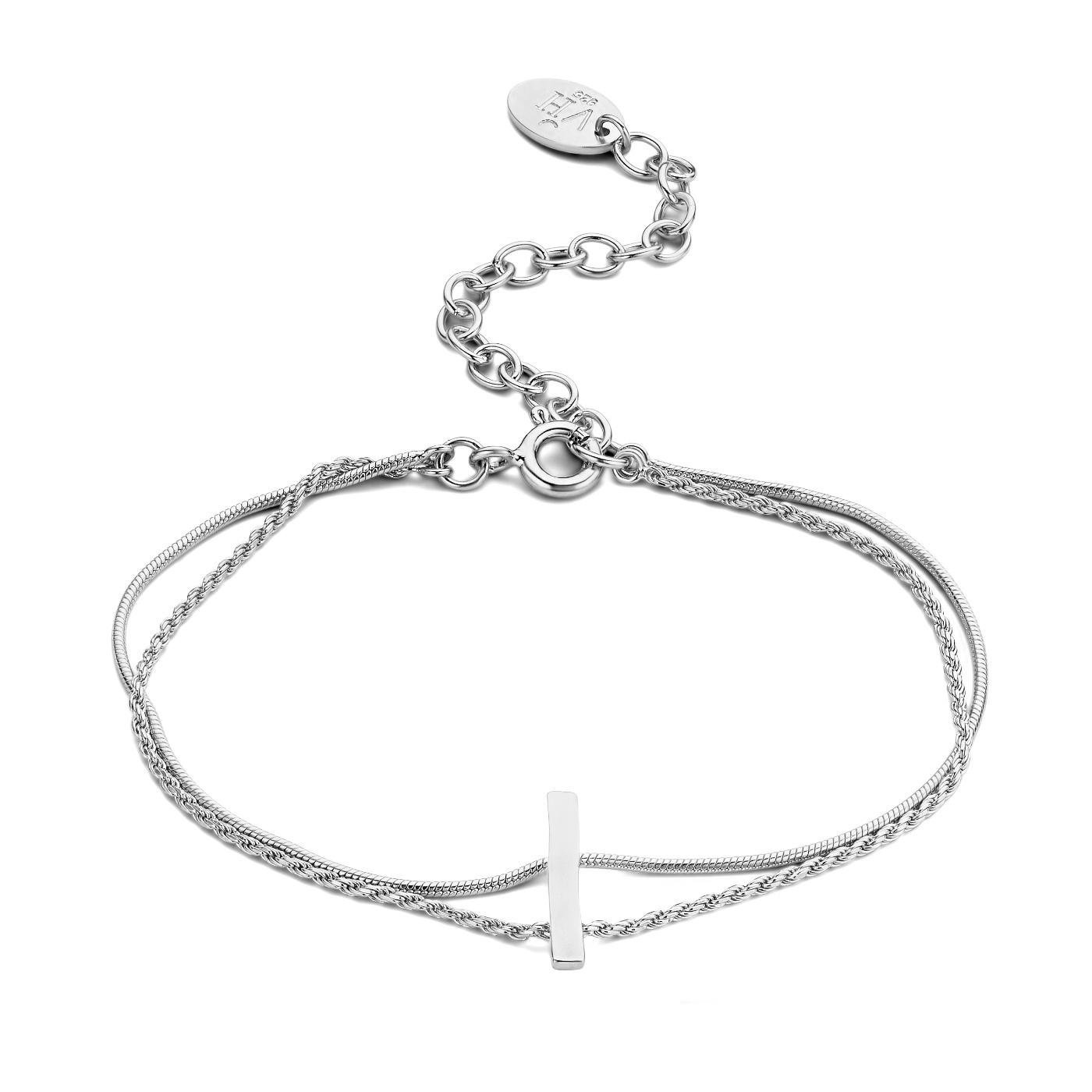 Violet Hamden Sisterhood Moonscape 925 sterling zilveren dubbele armband met balkje