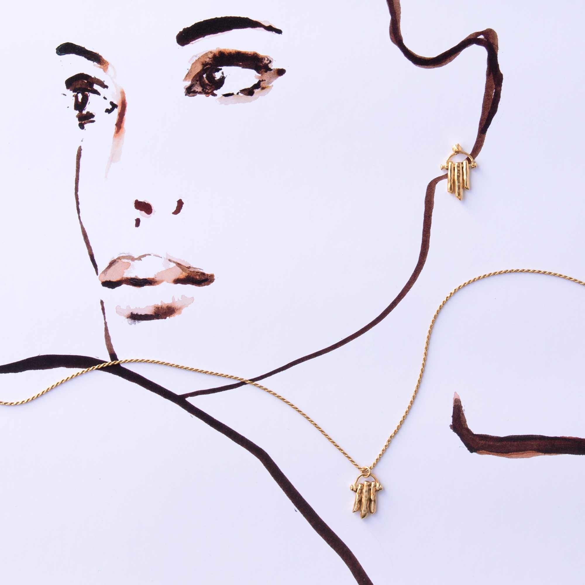 Violet Hamden Collana in argento sterling 925 color oro Sisterhood