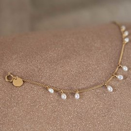 Violet Hamden Luminous Lake 925 sterling silver gold colored bracelet with freshwater pearls