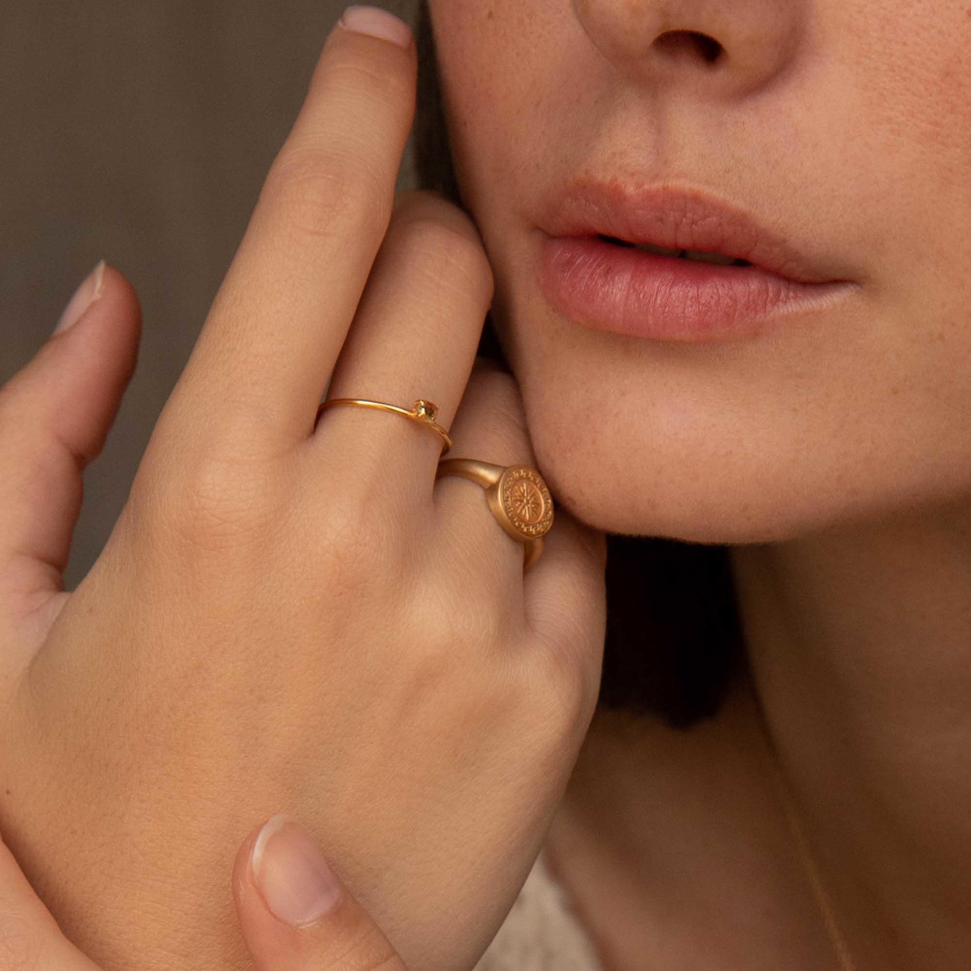 Violet Hamden Athens 925 sterlingsølv guldfarvet ring