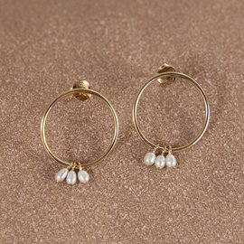 Violet Hamden Luminous Lake 925 sterling silver gold earrings with freshwater pearls
