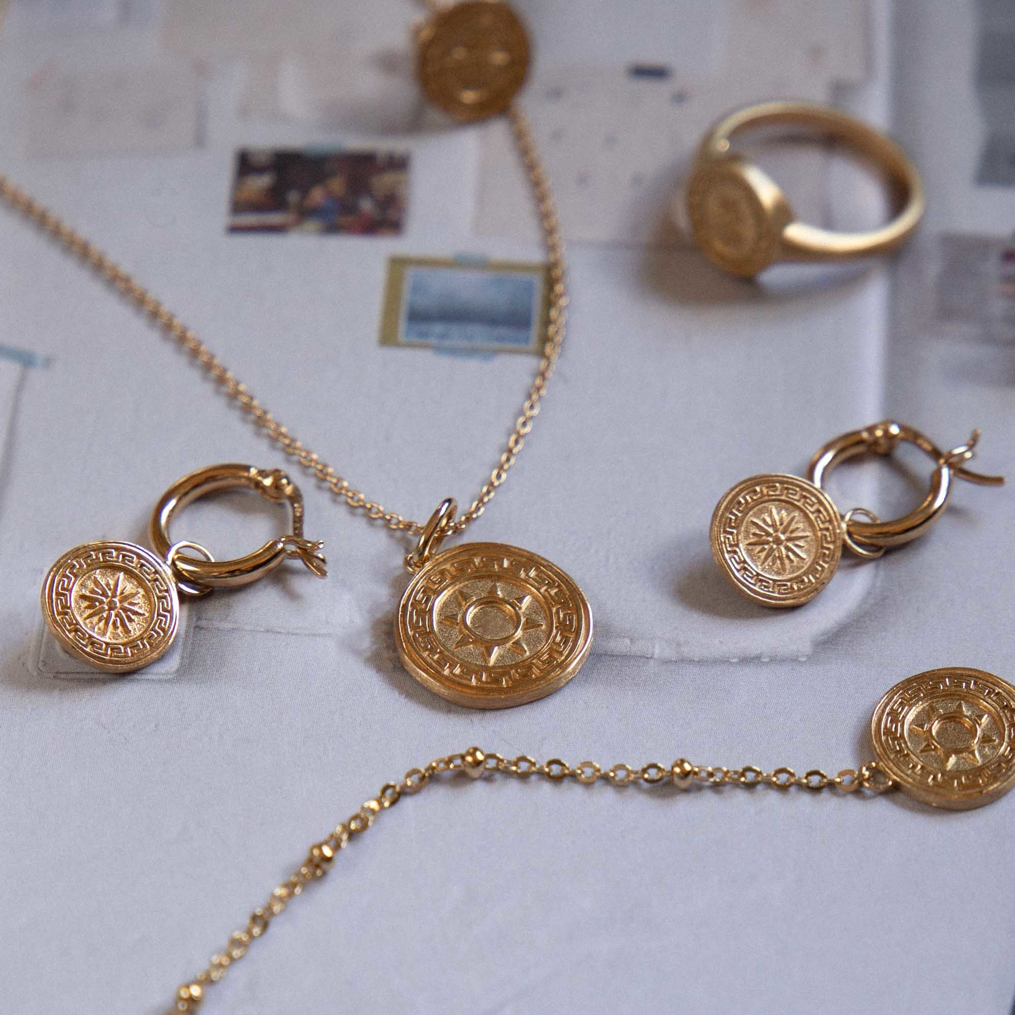 Violet Hamden Athens 925 sterling silver gold colored necklace with coin