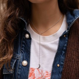 Violet Hamden Crescent Luna Necklace Silver