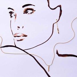 Violet Hamden Sisterhood Moonscape 925 Sterling Silber goldfarbenes Ohrstecker mit Stange