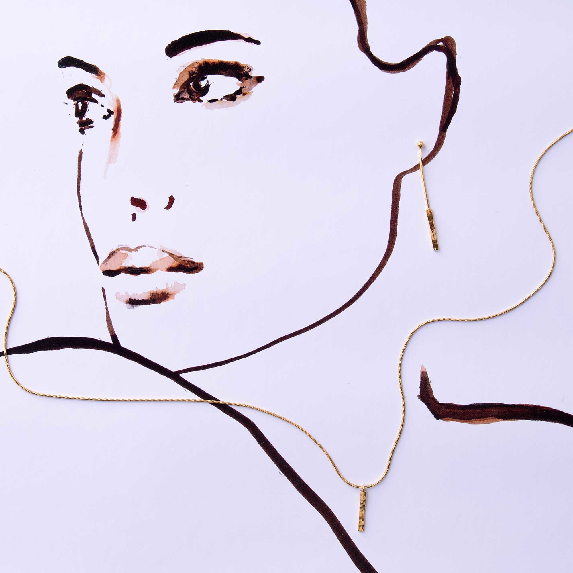 Violet Hamden Sisterhood Moonscape Clous d'oreilles en argent sterling 925 doré