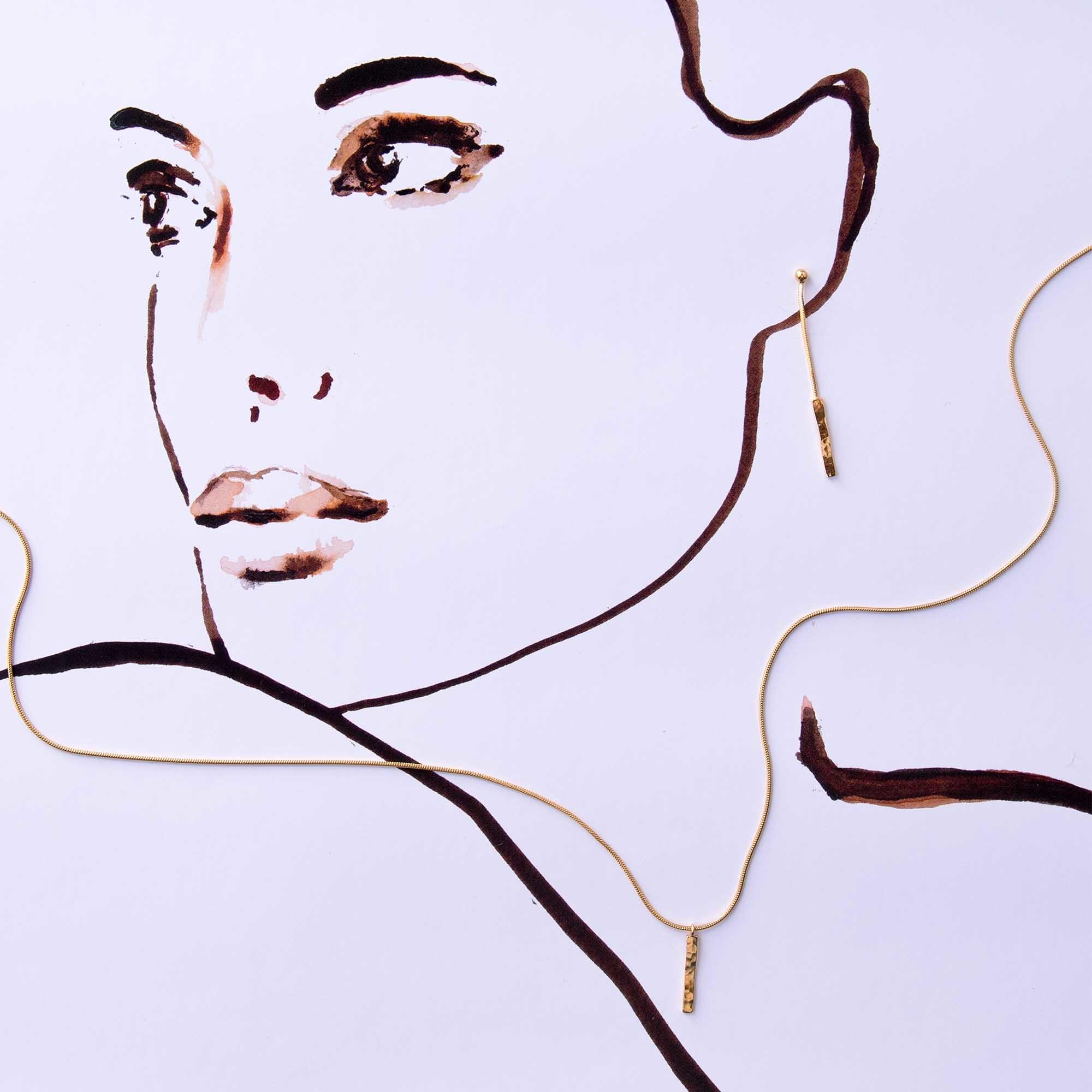 Violet Hamden Sisterhood Moonscape 925 sterling zilver goudkleurige ketting met staafje