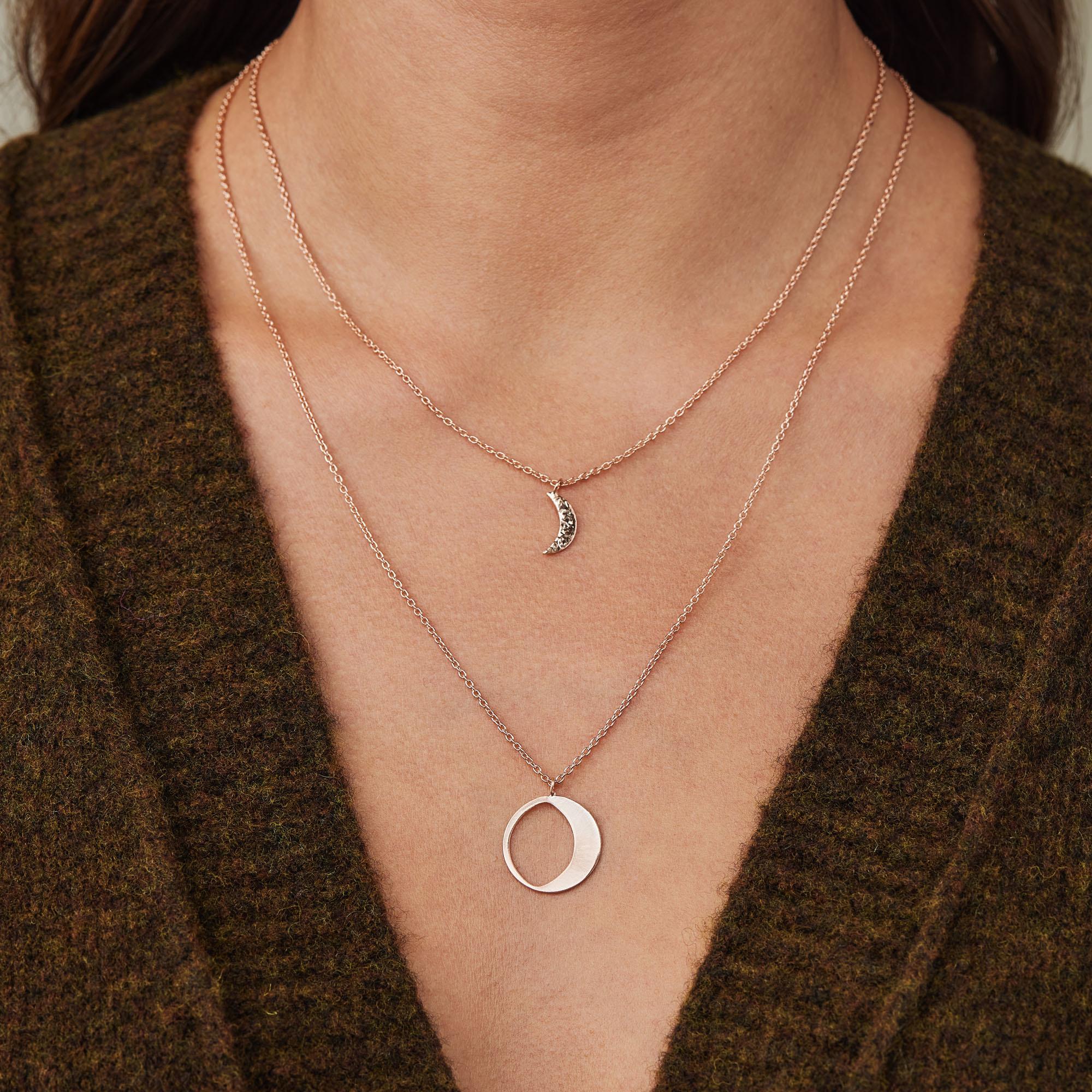 Violet Hamden Luna 925 sterling silver rose gold colored necklace with moons
