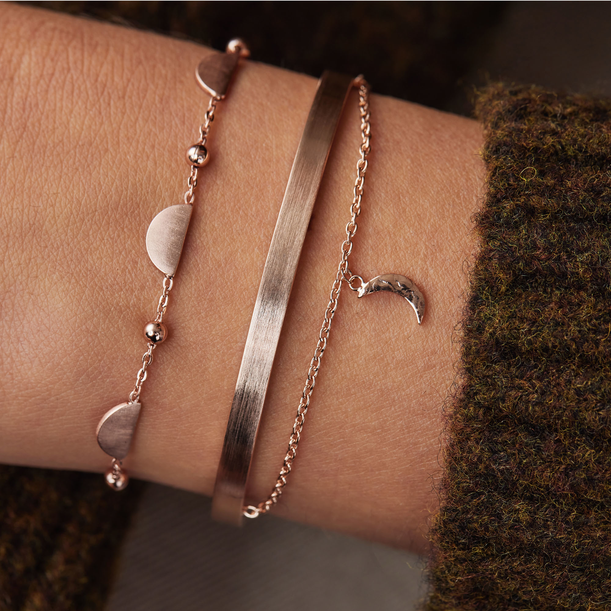 Violet Hamden Luna 925 sterling silver rose gold colored double bracelet and moons