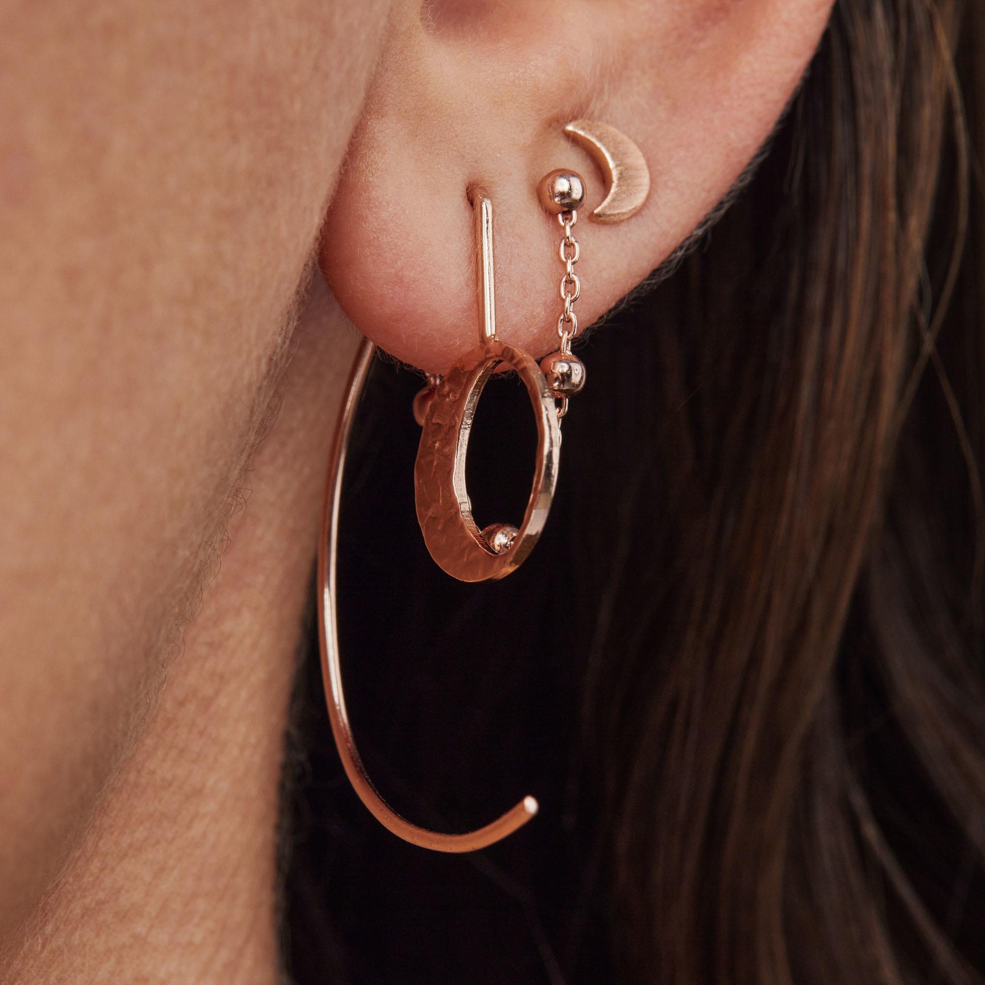 Violet Hamden Luna 925 sterling sølv rose guldfarvet øreringe