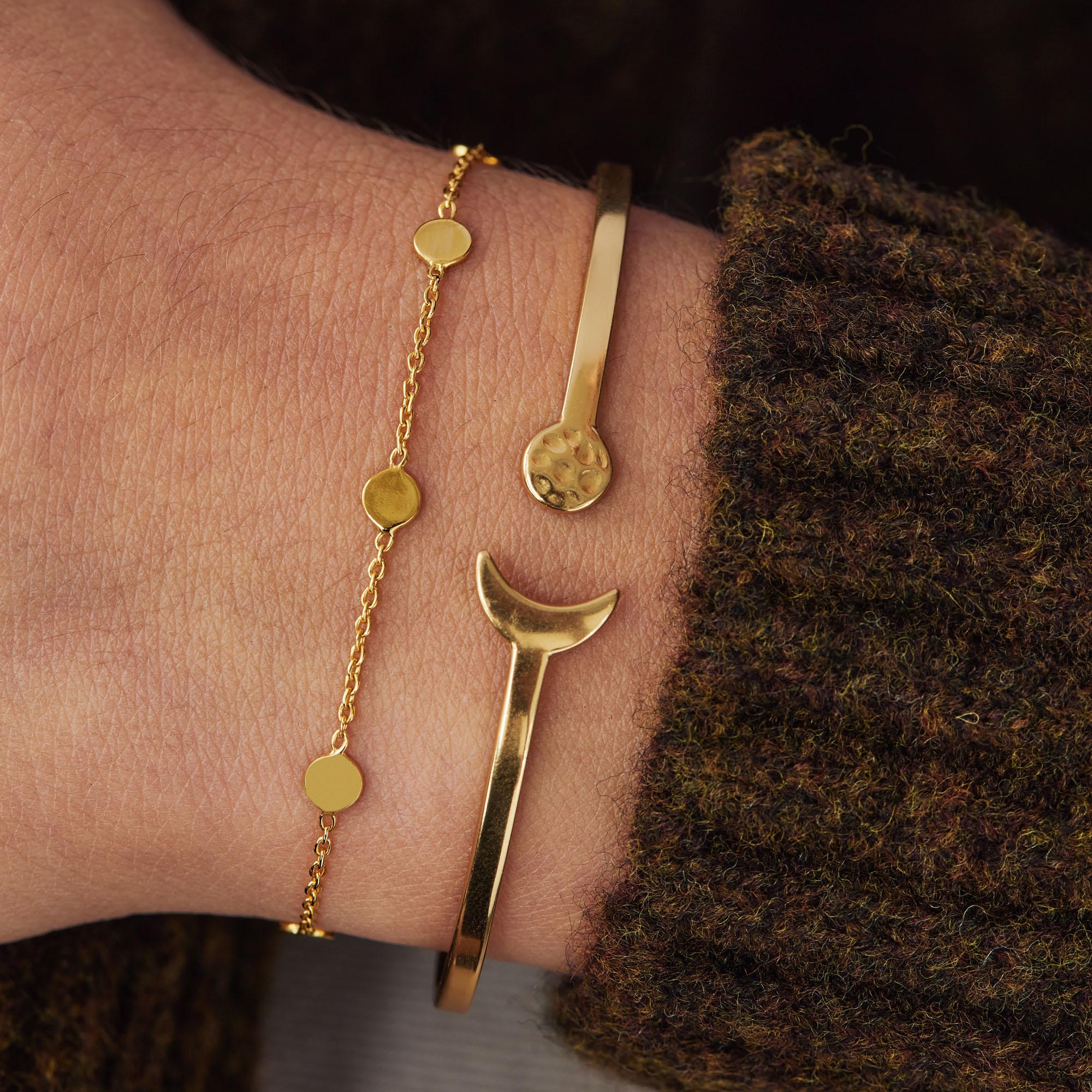 Violet Hamden Luna bracciale color oro in argento sterling 925