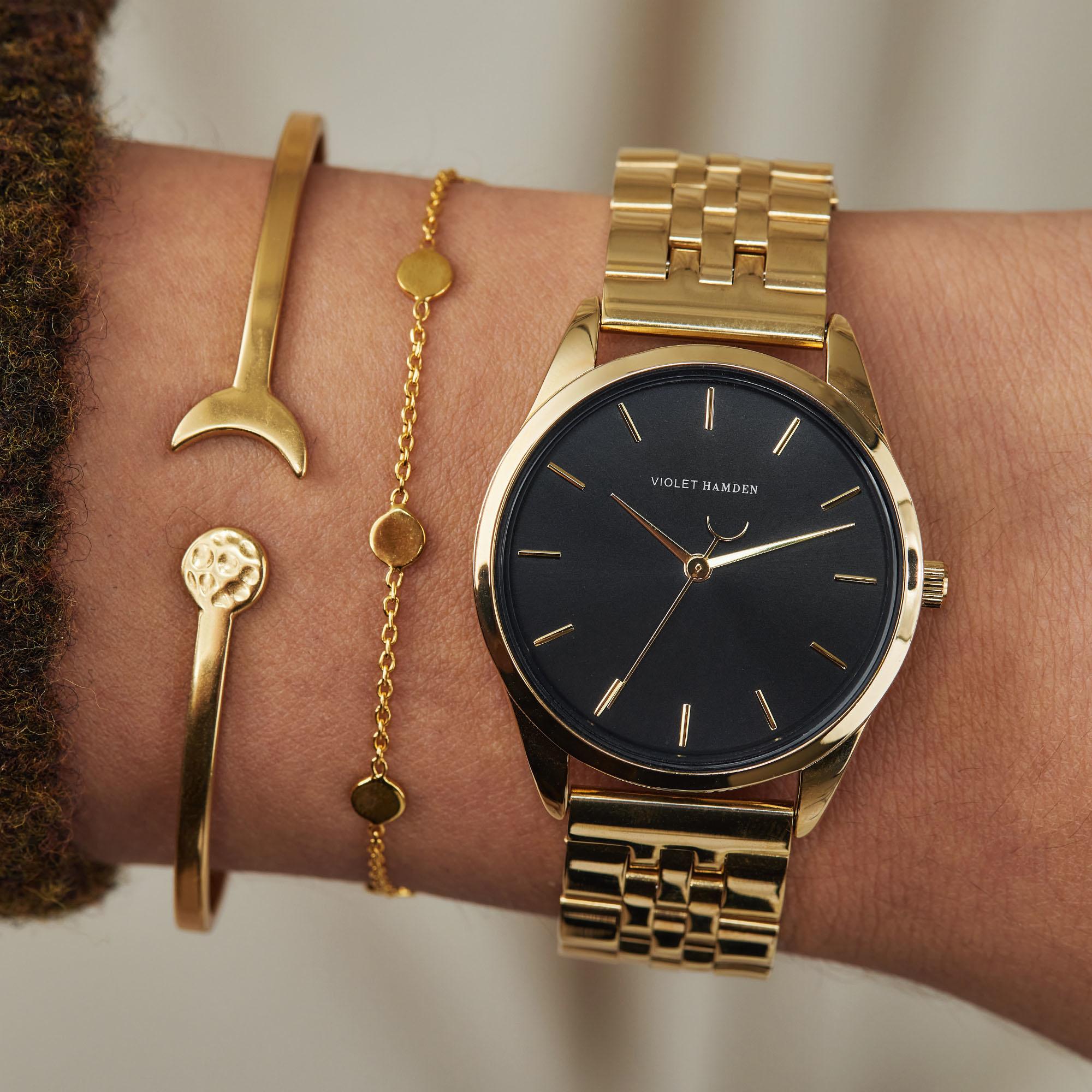 Violet Hamden Luna 925 Sterling Silber goldfarbenes Armband mit Münzen