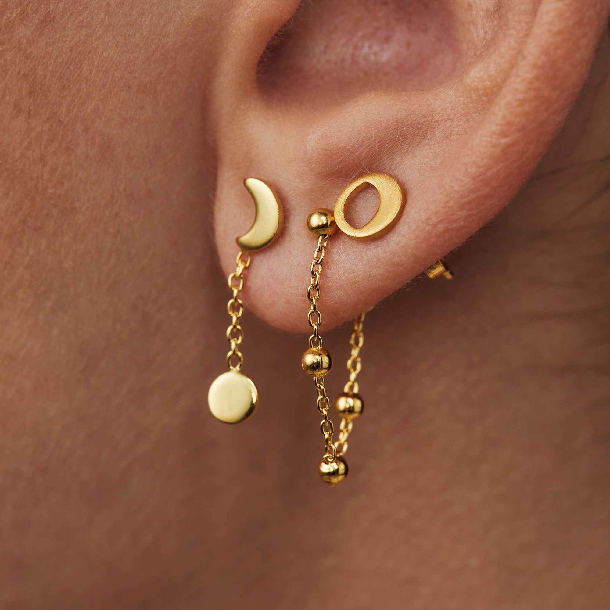 Violet Hamden Luna 925 sterling silver gold colored ear studs with moons