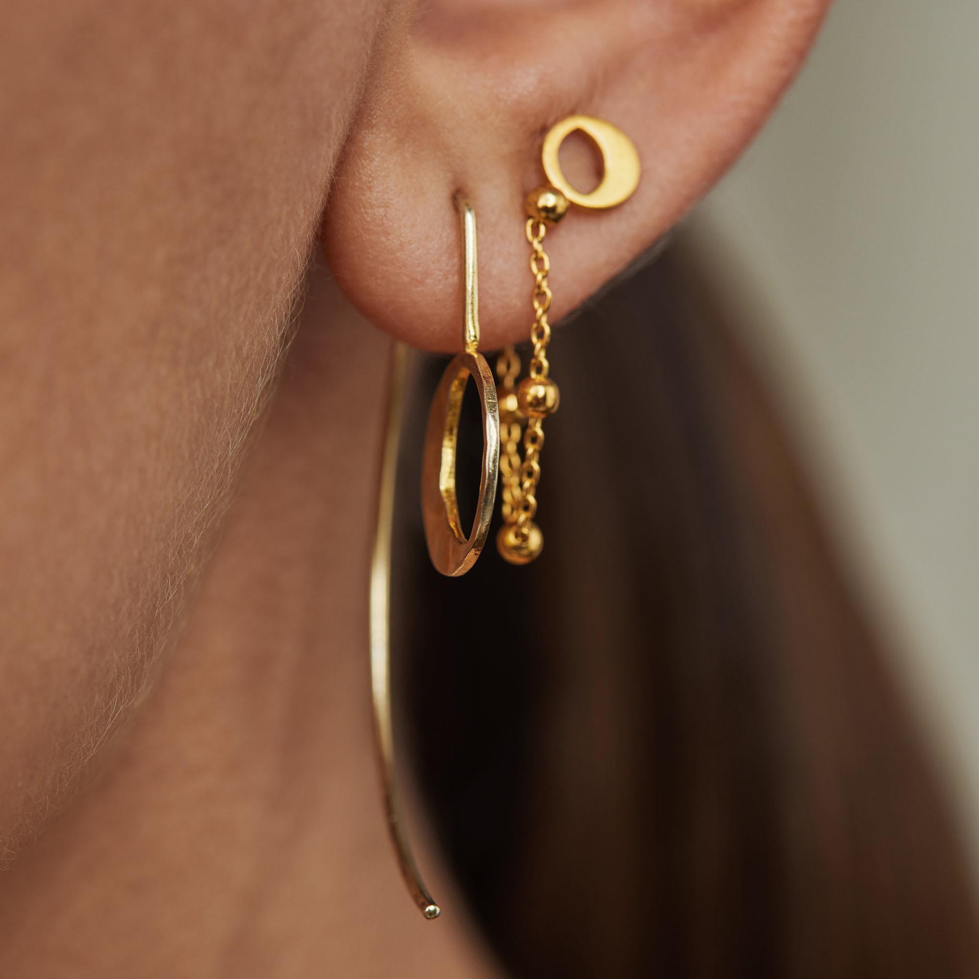 Violet Hamden Luna 925 sterling zilver goudkleurige oorhangers met maantjes