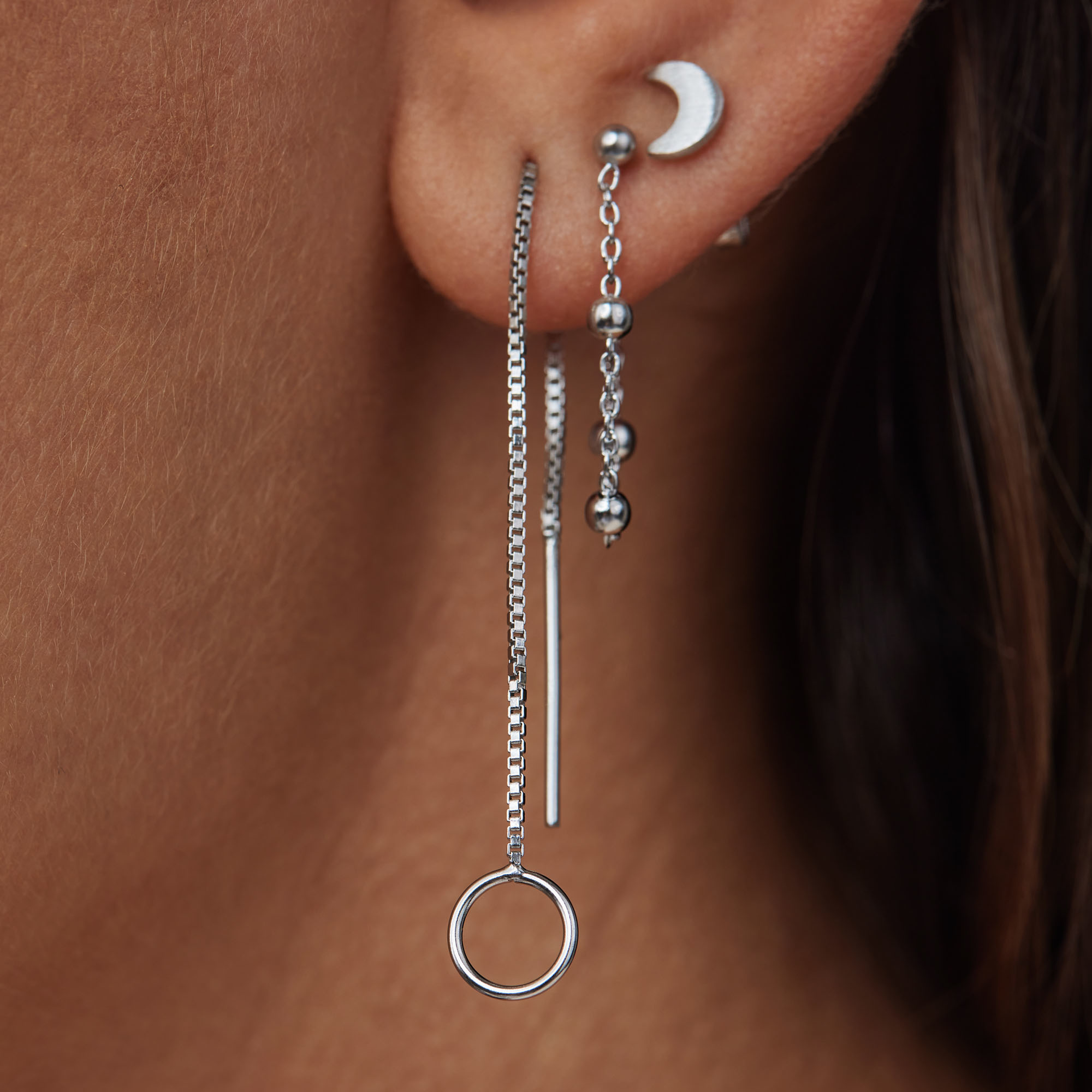 Violet Hamden Luna 925 sterling silver drop earrings with rounds