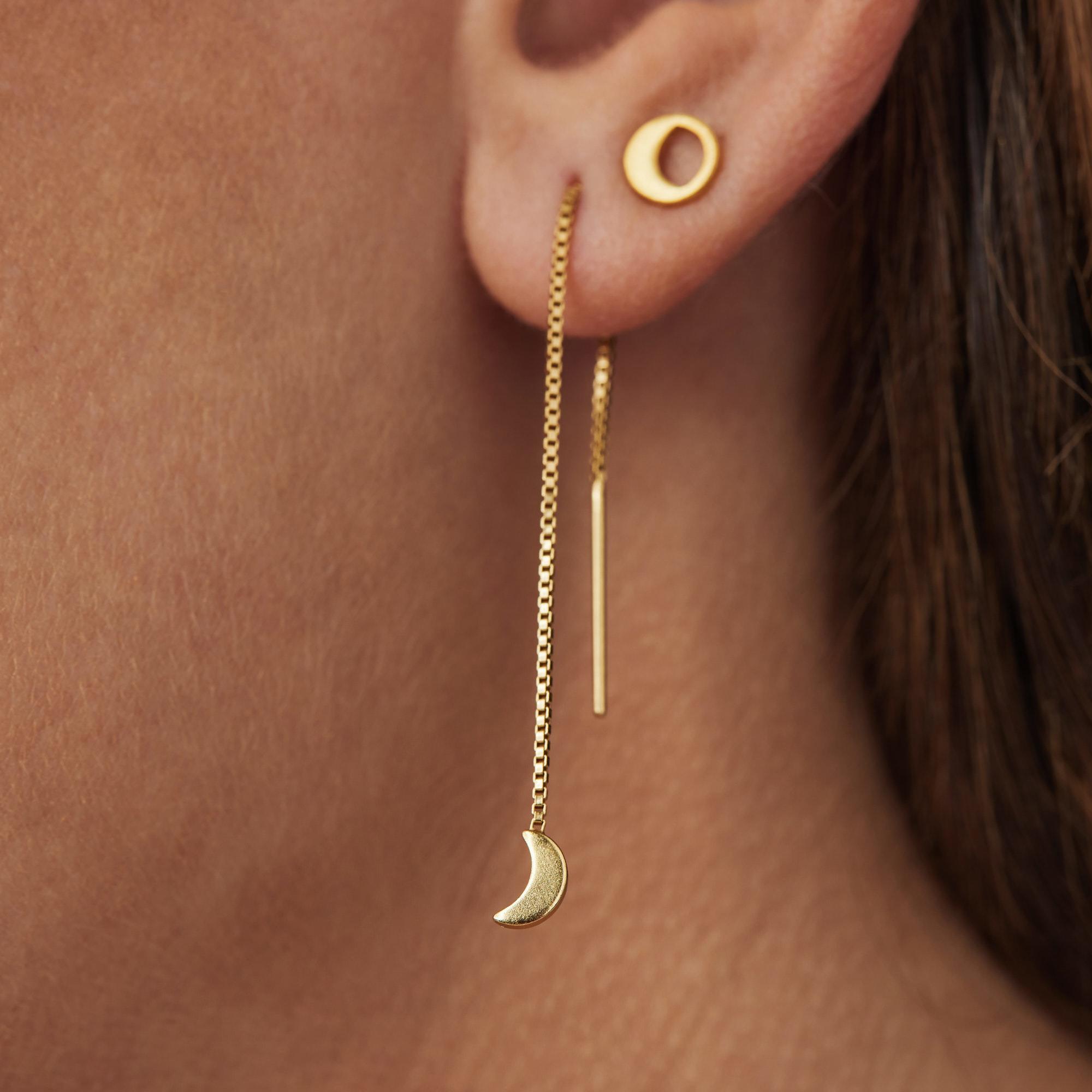 Violet Hamden Luna 925 Sterling Silber goldfarbenes Ohranhänger mit Monde