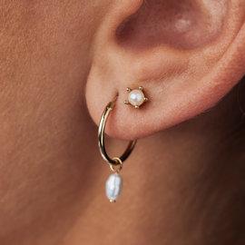Violet Hamden Luminous Lake 925 sterling zilver goudkleurige oorbellen met zoetwaterparels