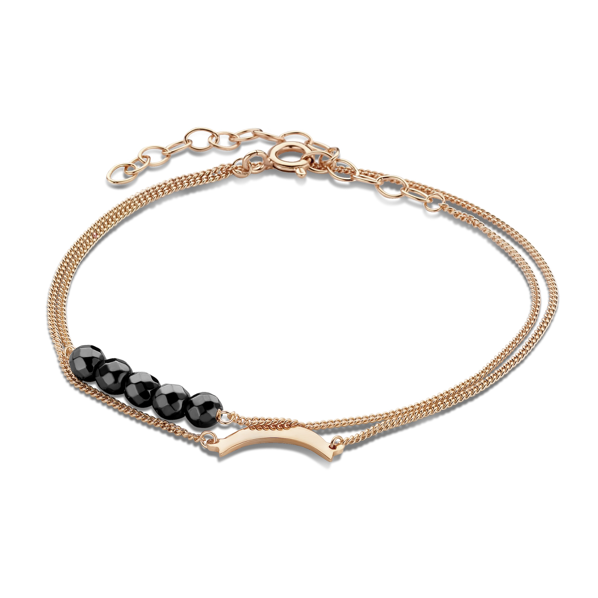 Violet Hamden Luna 925 sterling silver rose gold colored double bracelet with moon and hematite stones