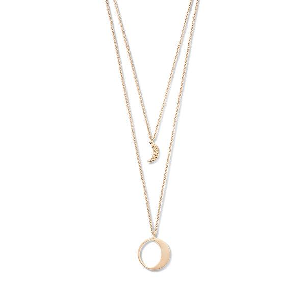 Violet Hamden Collana Luna in argento 925 color oro rosa