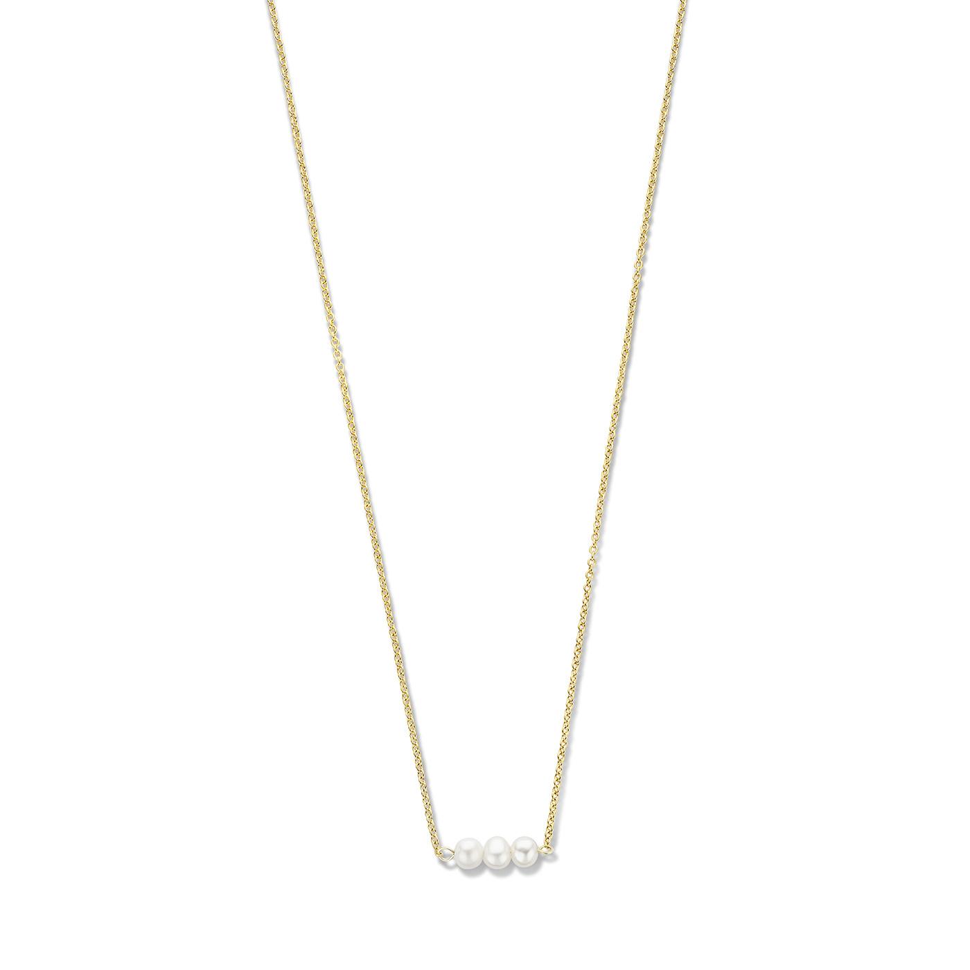 Violet Hamden Luminous Lake guldfärgat halsband i 925 sterlingsilver med sötvattenspärlor